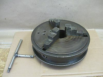 """Antique Vtg Whiton Big 9"""" Chuck From Hill Clarke 6' Belt Drive Metal Lathe Flaw"""