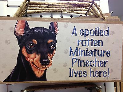 Spoiled Rotten Min Pin Wood SIGN PLAQUE 5 X 10 USA