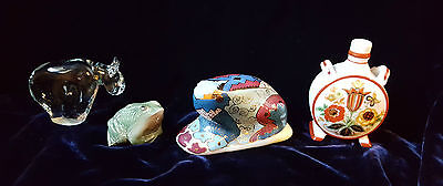 Vintage Ceramic Collection 2 Frogs. Hungarian Vase. Glass Bear Paperweight