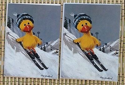2 HTF Rare Vintage Early SUZY'S ZOO Skiing Duck Greeting Cards 1968 w/env