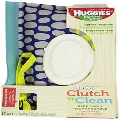 Count 32 Huggies Natural Care Baby Wipes Clutch N Clean Carrying Case Color/Styl