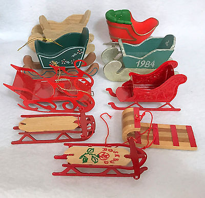 VINTAGE CHRISTMAS ORNAMENTS ~ Wood & Red Metal Sleds & Sleighs, Lot of 9