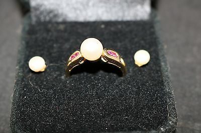 14K Gold Ruby & Pearl Ring And Earrings 585 Women's Jewelry Great Gift