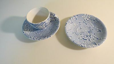 VINTAGE BURLEIGH STAFFORDSHIRE ENGLAND 'SCILLA' BLUE,1Demi CUP AND 2 SAUCERS