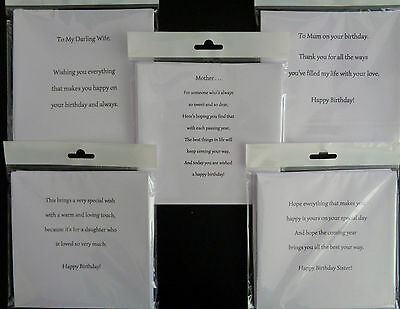 PK OF 10 FEMALE RELATIVE CARD INSERTS 100GSM, PRE-CUT FOR USE, A5,A6,5x5,6x6,7x5
