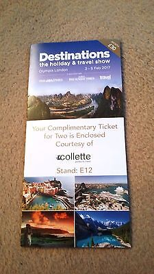 Ticket for two to the Destinations Holiday Show in Olympia, London 2 - 5 Feb.