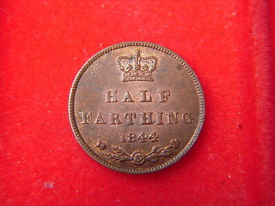 1844 Victorian Uncirculated Half Of A  Farthing  With Full Mint Lustre B3