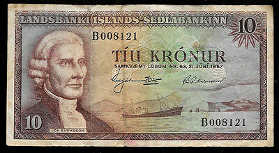 World Paper Money - Iceland 10 Kronur 1957 P38 @ Fine Cond.