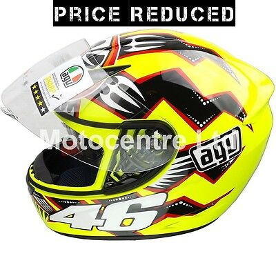 Agv Rossi Brazil Yellow Motorcycle Scooter Crash Helmet Size S
