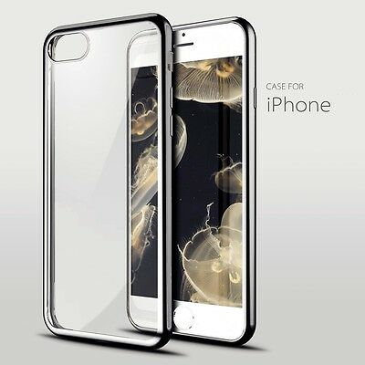 Electro Clear Gel Bumper Cover Case Free Tempered Glass For Iphone 7 Black 05