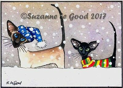 Aceo Original Siamese & Oriental Cat Kitten In Snow Painting By Suzanne Le Good
