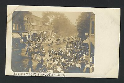Old Vintage Real Photo Postcard of State Street Lowville NY