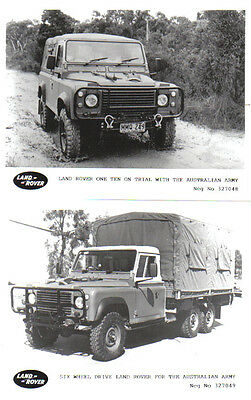 Land Rover Australian Army 110 + 6 wheeler x 2 original Press Photos 327048 & 9