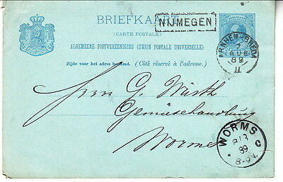 Netherlands 1889 card to Germany (64-111)