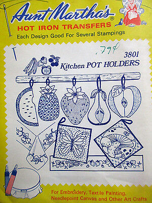 3801 Aunt Martha's Hot Iron Transfers KITCHEN POT HOLDERS Embroidery Pattern UC