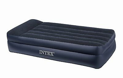 Intex Twin Raised Pillow Rest Air Mattress With Built-In Electric Pump | 66705E