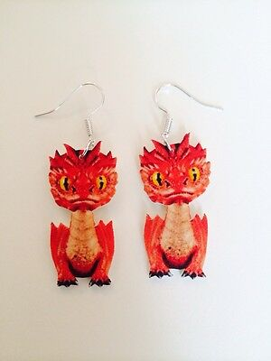 Smaug Dragon The Hobbit Lord Of The Rings Earrings HANDMADE PLASTIC CHARMS