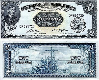 PHILIPPINES 2 Pesos Banknote World Paper Money UN Currency PIck p-134d Bill Note