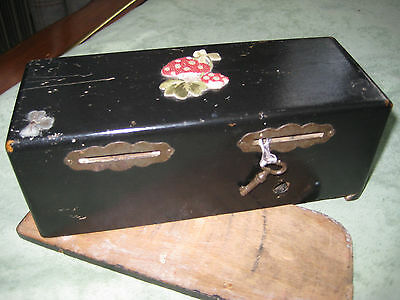 Vintage Victorian? Double Compartment, Wood Money Box With Key