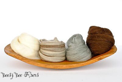 4 SHADES OF MERINO Undyed Natural Combed Top Wool Roving Spinning Felting 4 oz
