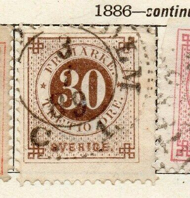 Sweden 1886 Early Issue Fine Used 30ore. 123266