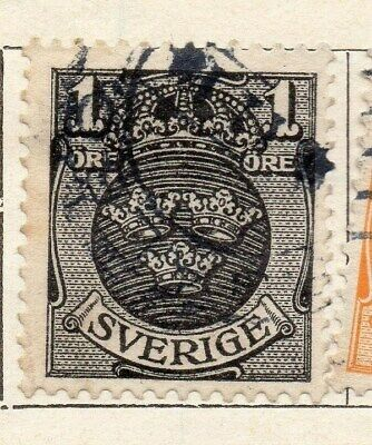 Sweden 1910-11 Early Issue Fine Used 1ore. 123287