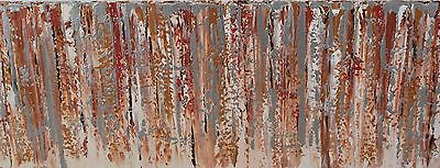 LARGE ORIGINAL MODERN ACRYLIC GOLD KNIFE  ABSTRACT PAINTING 100x40cm box canvas