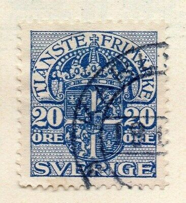 Sweden 1910 Early Issue Fine Used 20ore. Officials 123327