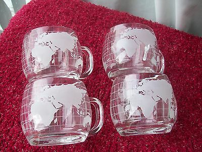 4-Nestle Nescafe Etched Frosted World Globe Coffee Mugs- 1-Creamer, excellent