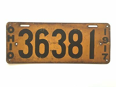 1917 OHIO License Plate Tag Original Vintage-Antique No. 36381