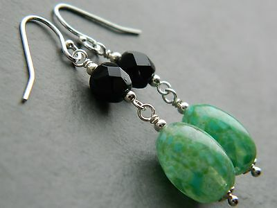 Art Deco Murano Marbled Jade Green Glass, Vintage French Jet & Silver Earrings