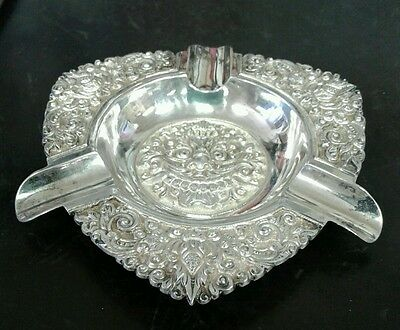 Vintage Ornate Repousse Yogya Ashtray UD 800 Deluxe Silver Indonesia