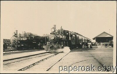 1923 Railroad Depot In Mazatlan, Mexico With Trains Real Photo Postcard