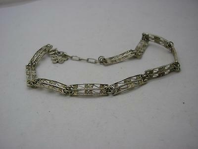 Vintage  Silver Narrow Filigree Panel with Single Flower Charm
