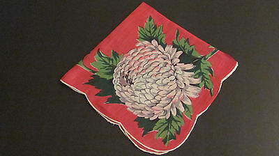 Vintage Large Red Pink Green Chrysanthemum Floral Linen Hankie Hand Rolled