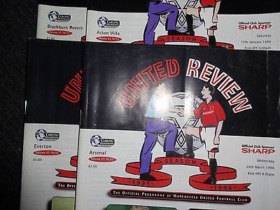 Manchester United Home Programmes. Winning Season 1995/96