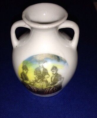 Early 20th Century Miniature Vase Showing Women In Traditional Welsh Costume