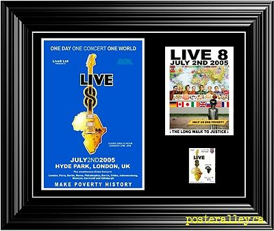 LIVE 8 Live8 Concert Poster & Ticket set Ready to frame!  VERY NICE!!!  uk  pink
