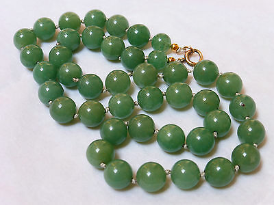 """VINTAGE CHINESE 14KGF GREEN JADE 10mm BEAD NECKLACE, 19"""" LONG, 58GRAMS"""