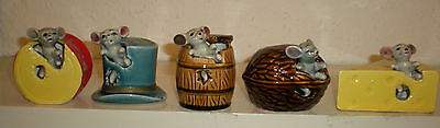 5 Collectable Mice In A - Hat, Drum, Walnut, Cheese, & Barrel.