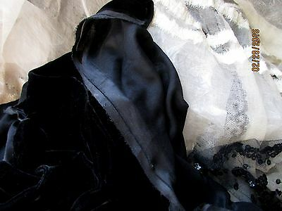 Finest Unique Delicate Antique Sheer Ink Black Silk Velvet Fabric Frag