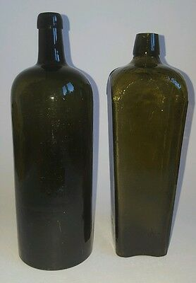 Two Vintage Glass Apothecary Pharmacy Chemist Bottles Ref:S