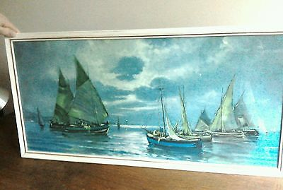 Large Landscape Vintage Kitsch Picture 60s/70s In Frame-Glass Seascape/Nautical