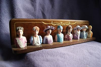 AVON AMERICAN FASHION THIMBLE COLLECTION with WOOD RACK 1982-1984