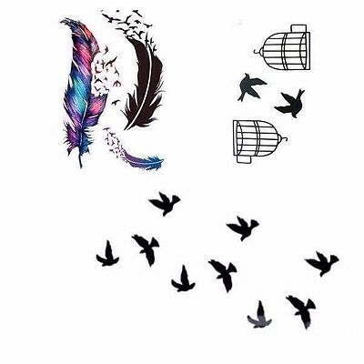 Temporary Tattoo Birds flying feather Sticker Removable Fake Waterproof Body Art