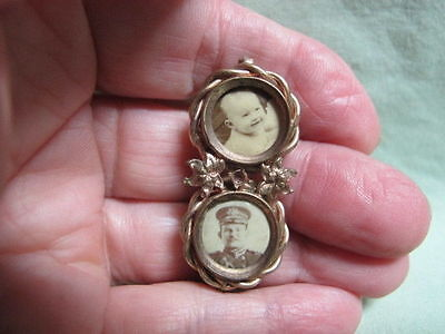 Antique Victorian Mourning Jewelry Double Brooch pin Baby & Man