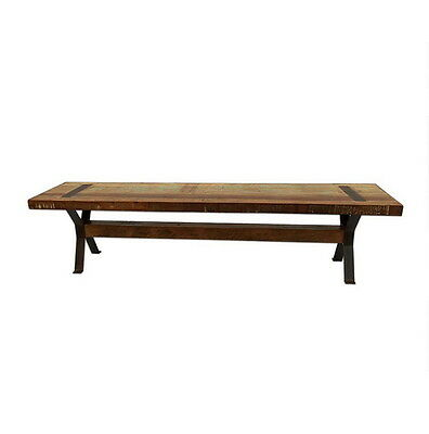 "72"" L Gentleman Johnny's Rustic Bench with Steel legs Reclaimed Wood Very Nice"