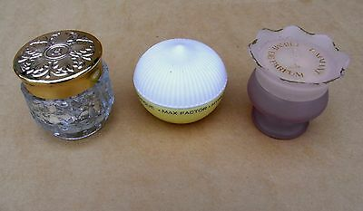 A Vintage Trio of Collectable Cream Perfume Pots, Houbigant, Coty & Max Factor.