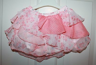 Baby Girls Pink Floral Spot Chiffon Frilly Skirt age 9-12 months - Matalan