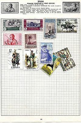 Sheet of used SPAIN stamps